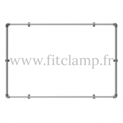 Wall mounted display frame for tension banner on aluminium tubular structure.