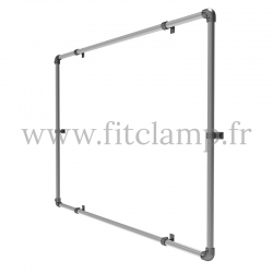Wall mounted display frame for tension banner on aluminium tubular structure. FitClamp.