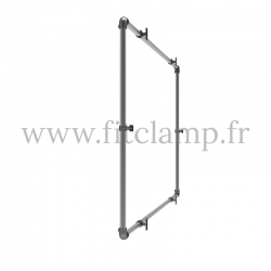 Wall mounted display frame for tension banner on aluminium tubular structure. For assembly, all you need is a simple Allen key.