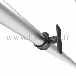 Wall mounted display frame for tension banner on aluminium tubular structure. Detail tube clamp fitting 143. FitClamp.