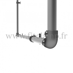 Wall mounted display frame for tension banner on aluminium tubular structure. Detail tube clamp fitting 125. FitClamp.