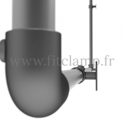 Wall mounted display frame for tension banner on aluminium tubular structure. Detail tube clamp fitting 125.