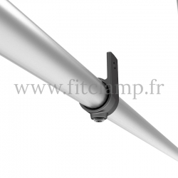 Wall mounted display frame for tension banner on aluminium tubular structure. Detail tube clamp fitting 199. FitClamp.