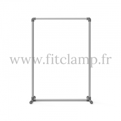 Pavement display frame for tension banner on aluminium tubular structure. Easy  to install. FitClamp.