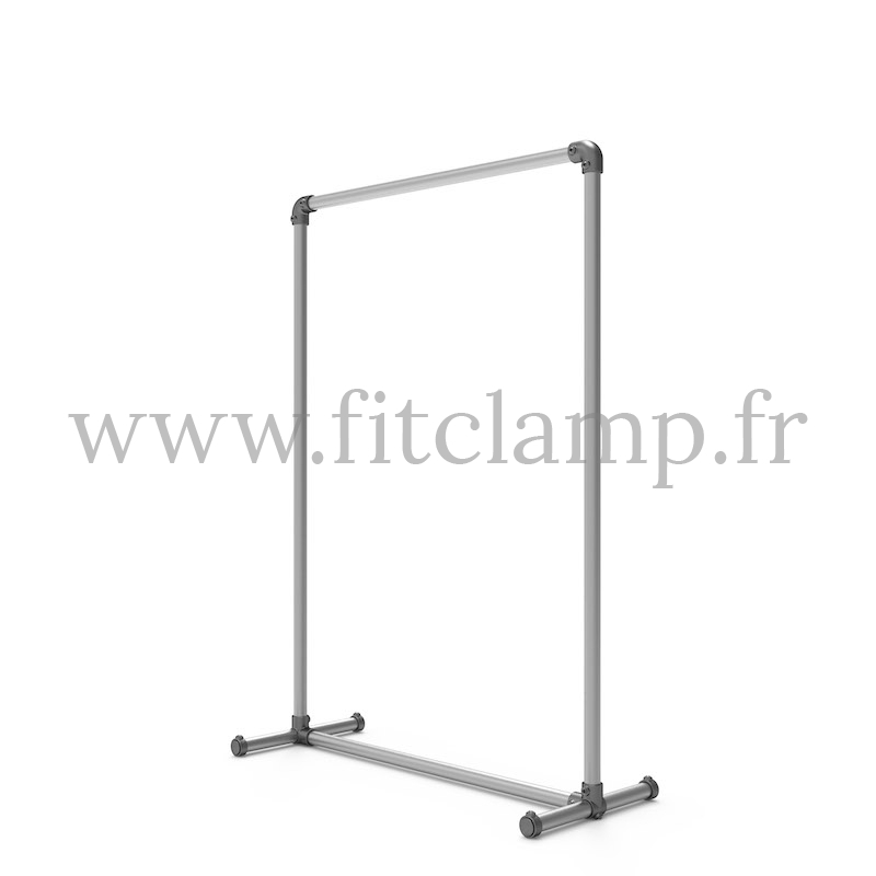 Pavement display frame for tension banner on aluminium tubular structure. FitClamp.