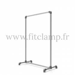 Pavement display frame for tension banner on aluminium tubular structure. Detail of tube clamp fitting foot 125. FitClamp