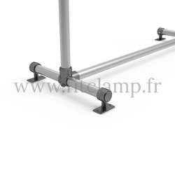 Pavement display frame for tension banner on aluminium tubular structure. Detail of tube clamp fitting foot 143. FitClamp