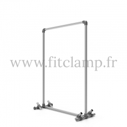 Pavement display frame for tension banner on aluminium tubular structure.
