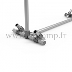 Pavement display frame for tension banner on aluminium tubular structure. Detail of tube clamp fitting foot 161. FitClamp