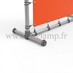 Pavement display frame with tension banner on aluminium tubular structure. Detail of tube clamp fitting 179. FitClamp.