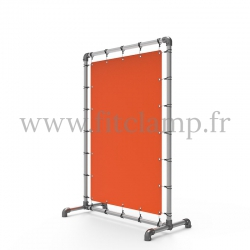 Pavement display frame with tension banner on aluminium tubular structure. Detail of tube clamp fitting 125.