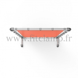 Pavement display frame with tension banner on aluminium tubular structure. Easy to install.