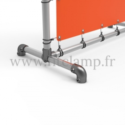 Pavement display frame with tension banner on aluminium tubular structure. Detail of tube clamp fitting 125. FitClamp.