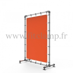 Pavement display frame with tension banner on aluminium tubular structure. Detail of tube clamp fitting 143.
