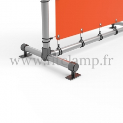 Pavement display frame with tension banner on aluminium tubular structure. Detail of tube clamp fitting 143. FitClamp.
