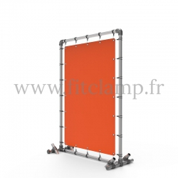 Pavement display frame with tension banner on aluminium tubular structure. Detail of tube clamp fitting 161.