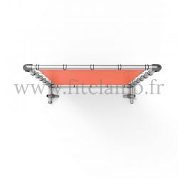 Pavement display frame with tension banner on aluminium tubular structure.