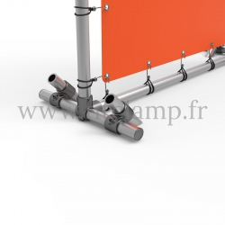 Pavement display frame with tension banner on aluminium tubular structure. Detail of tube clamp fitting 161. FitClamp.