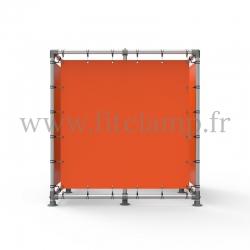 Cube d'affichage sur pied avec bâche en structure tubulaire avec renfort
