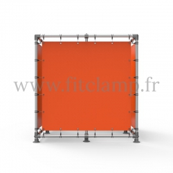 Cube display frame with tension banner on aluminium tubular structure. With reinforcements. FitClamp.