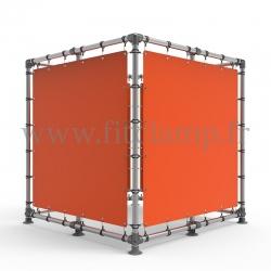 Cube d'affichage sur pied avec bâche en structure tubulaire avec piètement en raccord tubulaire
