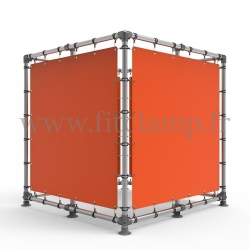 Cube display frame with tension banner on aluminium tubular structure.