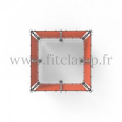 Cube d'affichage sur pied avec bâche en structure tubulaire. Assemblage tubulaire facile à monter