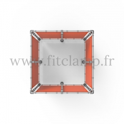 Cube display frame with tension banner on aluminium tubular structure. With reinforcements.