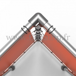 Cube display frame with tension banner on aluminium tubular structure. Detail of tube clamp fitting 128.