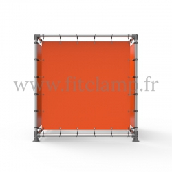 Cube display frame with tension banner on aluminium tubular structure. Easy to install.