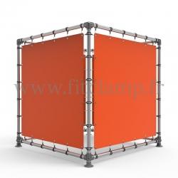 Cube d'affichage sur pied avec bâche tendue - Bâche tendue