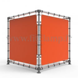 Cube display frame with tension banner on aluminium tubular structure. FitClamp.