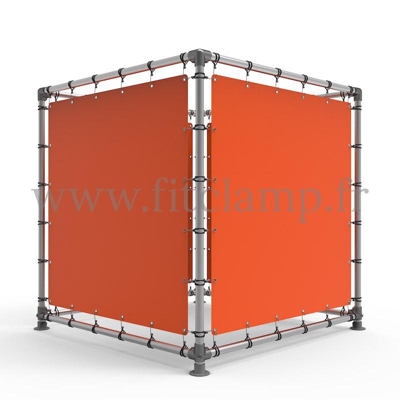 Cube d'affichage sur pied avec bâche tendue - FitClamp