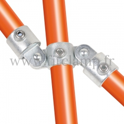 Tube clamp fitting 167 for tubular structures: Double swivel vertical combination 180°. Easy to install.