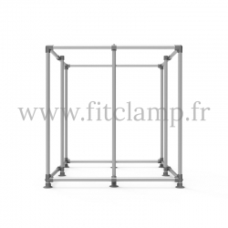 Cube display frame for tension banner on aluminium tubular structure. With reinforcement