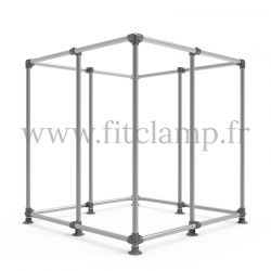 Cube display frame for tension banner on aluminium tubular structure. With reinforcement. FitClamp.