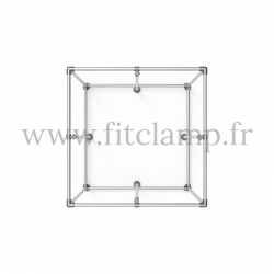 Cube display frame for tension banner on aluminium tubular structure. With reinforcement on each side.