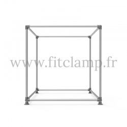 Cube display frame for tension banner on aluminium tubular structure. Easy to install.