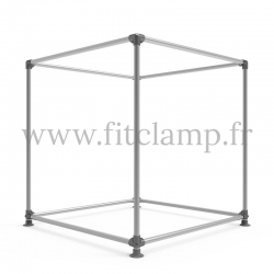 Cube display frame for tension banner on aluminium tubular structure. FitClamp.