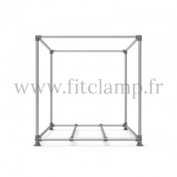 Cube display frame for tension banner on aluminium tubular structure.