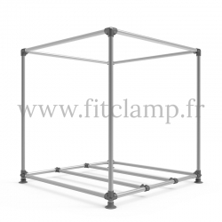 Cube display frame for tension banner on aluminium tubular structure. Floor reinforcement.