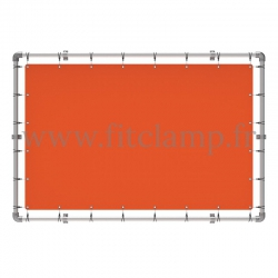 Wall mounted display frame with tension banner on aluminium tubular structure.