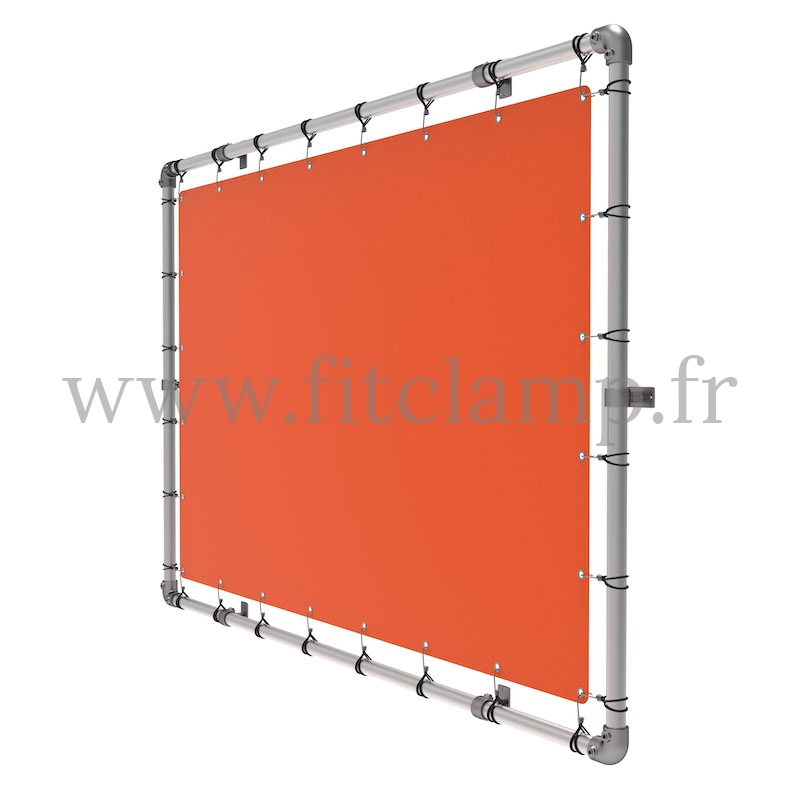 Wall mounted display frame with tension banner on aluminium tubular structure. FitClamp.