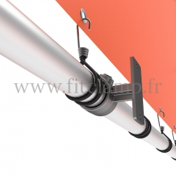 Wall mounted display frame with tension banner on aluminium tubular structure. Detail of tube clamp fitting 143. FitClamp.