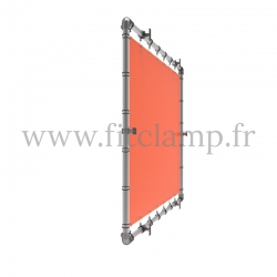 Wall mounted display frame with tension banner on aluminium tubular structure. All you need is a simple Allen key.