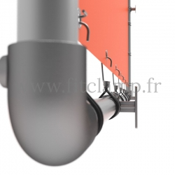 Wall mounted display frame with tension banner on aluminium tubular structure. Detail of tube clamp fitting 125.