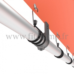 Wall mounted display frame with tension banner on aluminium tubular structure. Detail of tube clamp fitting 199. FitClamp.