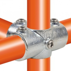 Tube clamp fitting 176 with double galvanized protection : Side outlet tee for tubular structures