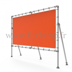 Fixed display frame with tension banner on aluminium tubular structure. With reinforcements. FitClamp.