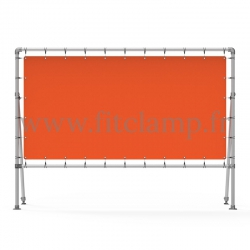 Fixed display frame with tension banner on aluminium tubular structure. Easy to install.